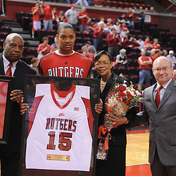 Mar 7, 2009; Piscataway, NJ, USA; Rutgers forward J.R. Inman (15) during the senior celebration prior to Rutgers' senior day game against South Florida at the Louis Brown Athletic Center.  Rutgers won 45-42.
