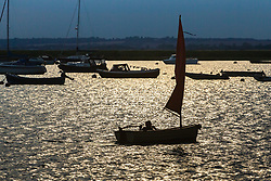 A man sails singlehanded across the glittering evening waters of the Blackwater Estuary at West Mersea, Mersea Island, near Colchester in Essex. West Mersea, Essex, July 11 2019.