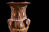 Inandik Hittite relief decorated cult libation vase with four decorative friezes featuring figures coloured in cream, red and black. The processional figures include musicians and acrobats processing to an altar, mid to late 16th century BC - İnandıktepe, Turkey. Against a black background