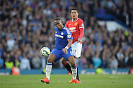 Didier Drogba of Chelsea is challenged by Chris Smalling of Manchester United. Barclays Premier league match, Chelsea v Manchester Utd at Stamford Bridge Stadium in London on Saturday 18th April 2015.<br /> pic by John Patrick Fletcher, Andrew Orchard sports photography.