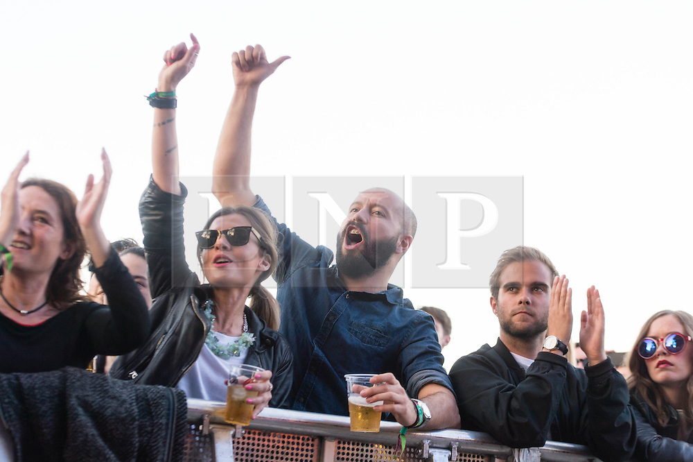 © Licensed to London News Pictures. 31/05/2014. Barcelona, Spain.   Festival atmosphere at Primavera Sound festival Day 4 - fans cheer during Spoon's performance.   Primavera Sound, or simply Primavera, is an annual music festival that takes place in Barcelona, Spain in late May/June within the Parc del Fòrum leisure site. Photo credit : Richard Isaac/LNP