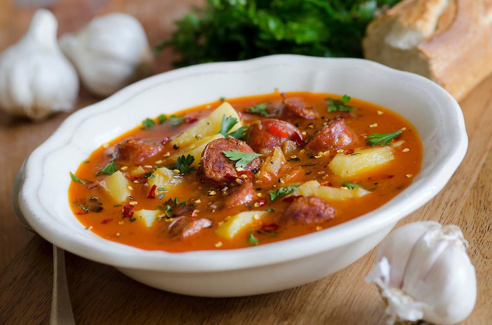 Spanish potato, garlic and chorizo soup
