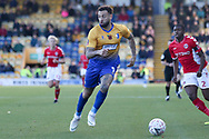 Craig Davies of Mansfield Town (9) sets off on a forward run during the The FA Cup match between Mansfield Town and Charlton Athletic at the One Call Stadium, Mansfield, England on 11 November 2018.