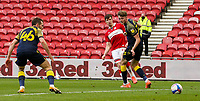 Middlesbrough's Paddy McNair scores his side's second goal <br /> <br /> Photographer Alex Dodd/CameraSport<br /> <br /> The EFL Sky Bet Championship - Middlesbrough v Stoke City - Saturday 13th March 2021 - Riverside Stadium - Middlesbrough<br /> <br /> World Copyright © 2021 CameraSport. All rights reserved. 43 Linden Ave. Countesthorpe. Leicester. England. LE8 5PG - Tel: +44 (0) 116 277 4147 - admin@camerasport.com - www.camerasport.com