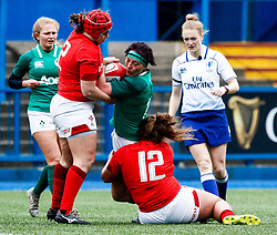 Lindsay Peat of Ireland  is tackled by Lleucu George of Wales <br /> <br /> Photographer Simon King/Replay Images<br /> <br /> Six Nations Round 5 - Wales Women v Ireland Women- Sunday 17th March 2019 - Cardiff Arms Park - Cardiff<br /> <br /> World Copyright © Replay Images . All rights reserved. info@replayimages.co.uk - http://replayimages.co.uk