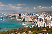 The densely packed buildings of Waikiki from the top of Diamond Head Crater.