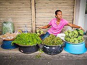 18 JULY 2013 - BANGKOK, THAILAND:  A vendor sets out lotus buds for sale on a street next to the Onnuch (also known as On Nut) Wet Market off of Sukhumvit Soi 77 in Bangkok.       PHOTO BY JACK KURTZ