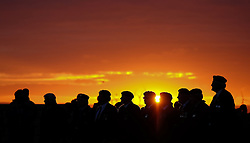 © Licensed to London News Pictures. <br /> 16/12/2014. <br /> <br /> Hartlepool, United Kingdom<br /> <br /> Veterans stand together during a sunrise memorial event to commemorate the bombardment of Hartlepool by German warships during World War One. During the bombardment 130 civilians were killed and more than 500 were wounded. The Headland's Heugh Gun Battery returned fire in what was the only battle to be fought on British soil during World War One, and one of the Battery's soldiers, Theo Jones of the Durham Light Infantry, became the first British soldier to be killed by enemy action on home ground in the war.<br /> <br /> Photo credit : Ian Forsyth/LNP