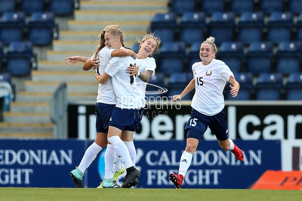Karina Olkhovik (#17) of Belarus celebrates scoring Belarus' first goal (0-1) during the FIFA Women's World Cup UEFA Qualifier match between Scotland Women and Belarus Women at Falkirk Stadium, Falkirk, Scotland on 7 June 2018. Picture by Craig Doyle.