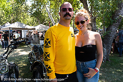 Kacy Waring and George Casale at the Born-Free Vintage Motorcycle show at Oak Canyon Ranch, Silverado, CA, USA. Sunday, June 23, 2019. Photography ©2019 Michael Lichter.