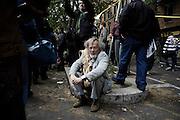 Un uomo durante il corteo organizzato dai movimenti per il diritto alla casa contro le politiche di austerita', Roma 12 Aprile 2014.  Christian Mantuano / OneShot <br /> <br /> A man during an anti-austerity march in Rome,  April 12, 2014. Christian Mantuano / OneShot