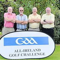 14 September 2012; The team from Clooneyquin GAA club, Co. Clare, from left, P.J O'Neill, Liam McInerney, Michael O'Brien and Jimmy Kelly, during the 13th Annual All-Ireland GAA Golf Challenge 2012 Finals. Waterford Castle Golf Club, Waterford. Picture credit: Brendan Moran / SPORTSFILE *** NO REPRODUCTION FEE ***