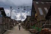 Apatani village showing Babo or elaborate structured wooden pole erected during the Myoko festival<br /> Apatani Tribe<br /> Ziro Valley, Lower Subansiri District, Arunachal Pradesh<br /> North East India