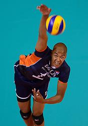 20150619 NED: World League Nederland - Portugal, Groningen<br /> De Nederlandse volleyballers hebben in de World League ook hun derde duel met Portugal gewonnen. Na de uitzeges van half mei was Oranje in Groningen met 3-0 te sterk: 25-18, 25-21, 25-23 / Nimir Abdelaziz #1