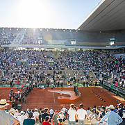 PARIS, FRANCE June 13. A general view of Novak Djokovic of Serbia with the winners trophy after his victory against Stefanos Tsitsipas of Greece on Court Philippe-Chatrier during the Men's Singles Final at the 2021 French Open Tennis Tournament at Roland Garros on June 13th 2021 in Paris, France. (Photo by Tim Clayton/Corbis via Getty Images)