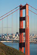 Golden Gate Bridge and cityscape in late afternoon, San Francisco, California