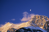 Moon setting over Mount Lougheed, Wind Valley Provincial Park, Alberta, Canada