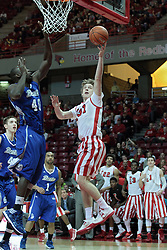01 February 2014: Matt Stacho moves for a lay up attempt guarded by Daddy Ugbede during an NCAA Missouri Valley Conference (MVC) mens basketball game between the Drake Bulldogs and the Illinois State Redbirds  in Redbird Arena, Normal IL.