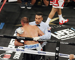 June 17, 2017 - Las Vegas, Nevada, United States of America - Challenger Sergey Kovalev is waved off  by refree Tony Weekes in the 8th round during his rematch with Champion Andre  Ward on June 17, 2017 at Mandalay Bay Events Center  in  Las Vegas, Nevada. (Credit Image: © Marcel Thomas via ZUMA Wire)