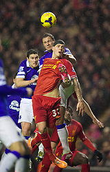 28.01.2014, Anfield, Liverpool, ENG, Premier League, FC Liverpool vs FC Everton, 23. Runde, im Bild Liverpool's Martin Skrtel, action against Everton // during the English Premier League 23th round match between Liverpool FC and Everton FC at Anfield in Liverpool, Great Britain on 2014/01/29. EXPA Pictures © 2014, PhotoCredit: EXPA/ Propagandaphoto/ David Rawcliffe<br /> <br /> *****ATTENTION - OUT of ENG, GBR*****
