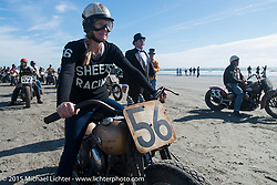 Jen Sheets on her 1947 Harley-Davidson Knucklehead racer at the start of the Race of Gentlemen. Wildwood, NJ, USA. October 10, 2015.  Photography ©2015 Michael Lichter.