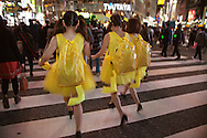 October 29, 2016, Tokyo, Japan: In the Shibuya district, the heart of Japanese youth culture, Halloween celebrations have exploded in the past few years. Up until this boom, Halloween celebrations were minimal across the city. But Shibuya has now become Halloween central with tens of thousands of costumed party goers invading it's streets to promenade en-costume or hit club events in the area. This informal street gathering has become so big, this year the Tokyo Metropolitan Police Dept. decided to close off two main streets adjacent to Shibuya Station. When Oct. 31 falls on a weekday, ninety percent of Halloween celebrations across Japan take place on the preceding Saturday. Pictured here are Pokemon and Pikachu costumes.(Torin Boyd/Polaris).