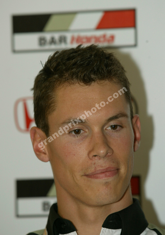 Alan van der Merwe (BAR-Honda) at the Bonneville 400 press conference bofore the 2005 Italian Grand Prix at Monza. Photo: Grand Prix Photo