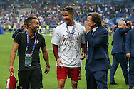 Portugal Forward Cristiano Ronaldo with his winners medal during the Euro 2016 final between Portugal and France at Stade de France, Saint-Denis, Paris, France on 10 July 2016. Photo by Phil Duncan.