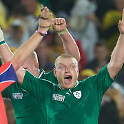 Tom  Court shows his delight as Ireland celebrate their famous victory defeating Australia 15-6 during the Australia V Ireland Pool C match during the IRB Rugby World Cup tournament. Eden Park, Auckland, New Zealand, 17th September 2011. Photo Tim Clayton...
