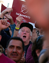Oct 21, 2019; Sacramento, CA, USA; Fans cheer at a celebration event for the new Sacramento Republic FC MLS soccer team at Capital Mall. Mandatory Credit: D. Ross Cameron-USA TODAY Sports