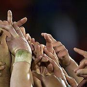 New Zealand players celebrate after winning the IRB Junior World Championships in Argentina. New Zealand won the final against Australa 62-17 at Estadio El Coloso del Parque, Rosario, Argentina. 21st June 2010. Photo Tim Clayton...