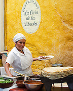Chef at La Casa de la Abuela, a restaurant specializing in traditional Oaxacan cusine, on the Zocalo in Oaxaca de Juarez Mexico.