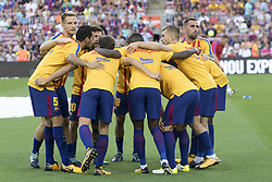 August 20, 2017 - Barcelona, Catalonia, Spain - Barcelona's players round the spanish league match between the FC Barcelona and the Real Betis in the Camp Nou Stadium in Barcelona, Spain on August 20, 2017  (Credit Image: © Miquel Llop/NurPhoto via ZUMA Press)