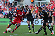 Bristol Tammy Abraham (9) lines up a close range shot.   during the EFL Sky Bet Championship match between Bristol City and Derby County at Ashton Gate, Bristol, England on 17 September 2016. Photo by Gary Learmonth.