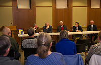 The Laconia Historical and Museum Society hosted five Laconia Mayors during the Laconia Mayors Symposium Tuesday evening at the Laconia Library.  (l-r)  Karl Reitz, Paul Fitzgerald, Rod Dyer, Edward Engler and Matt Lahey.  (Karen Bobotas/for the Laconia Daily Sun)