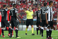 August 21, 2018 - Lisbon, Portugal - Referee Milorad Mazic of Serbia gestures during the UEFA Champions League play-off first leg match SL Benfica vs PAOK FC at the Luz Stadium in Lisbon, Portugal on August 21, 2018. (Credit Image: © Pedro Fiuza via ZUMA Wire)