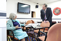 Ann Widdecombe and Brexit Party leader Nigel Farage talk ahead of a press conference at Featherstone Working Man's Club in Pontefract, West Yorkshire, while on the European Election. Picture dated: Monday May 13, 2019. Photo credit should read: Isabel Infantes / EMPICS Entertainment.