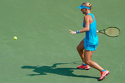 August 19, 2018 - Mason, Ohio, USA - Kiki Bertens (NED) hits a forehand shot during Sunday's final round of the Western and Southern Open at the Lindner Family Tennis Center, Mason, Oh. (Credit Image: © Scott Stuart via ZUMA Wire)