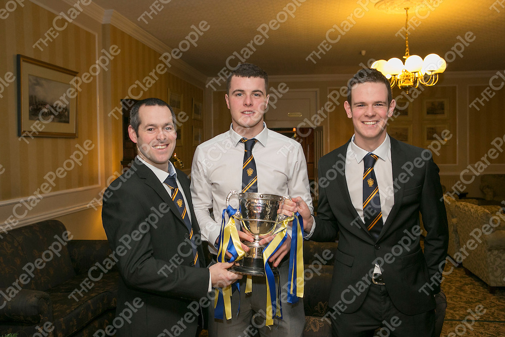Pictured at the Newmarket On Fergus GAA Victory Night in the Clare inn Hotel were:<br /> Eoin McInerney, Darren O'Connor & Alan McInerney<br /> Pictured Credit  Brian Gavin Press 22