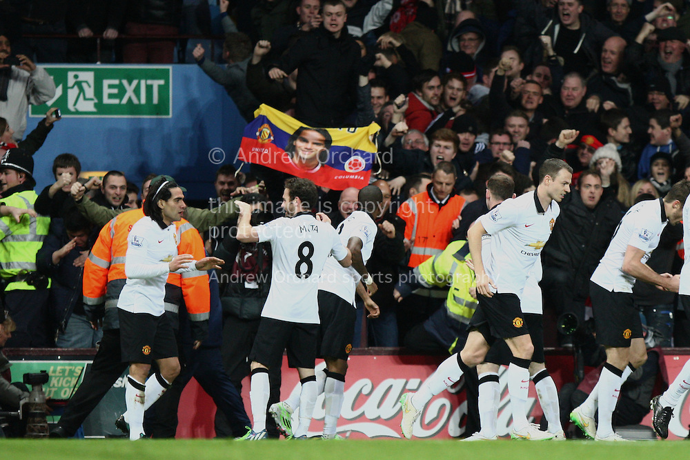 Radamel Falcao of Manchester United (far left) celebrates scoring his side's equalising goal. Barclays Premier league match, Aston Villa v Manchester Utd at Villa Park in Birmingham on Saturday 20th December 2014<br /> pic by Mark Hawkins, Andrew Orchard sports photography.