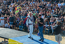 Just before Doug Danger's attemp to jump 22-cars on Evel Knievel's 1972 Harley-Davidson XR-750 at the Buffalo Chip Campground during the 75th Annual Sturgis Black Hills Motorcycle Rally.  SD, USA.  August 6, 2015.  Photography ©2015 Michael Lichter.