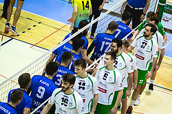 Players of both teams shaking hands before volleyball match between Panvita Pomgrad and Šoštanj Topolšica of 1. DOL Slovenian National Championship 2019/20, on December 14, 2019 in Osnovna šola I, Murska Sobota, Slovenia. Photo by Blaž Weindorfer / Sportida