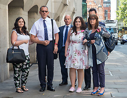 July 27, 2018 - London, London, United Kingdom - The Family of Charlotte Brown arrive for the sentencing with Father Graham Brown (Left), Sister Katie and Mother Roz Wicken..A warrant has been issued for the arrest of Jack Shepherd who has not attended court..Jack Shepherd, 30, was found guilty on Thursday of the manslaughter by gross negligence of Charlotte Brown, 24, whom he allowed to take the wheel of his small red speedboat. .Charlotte Brown manslaughter sentence. Old Bailey, London. (Credit Image: © Mark Thomas/i-Images via ZUMA Press)