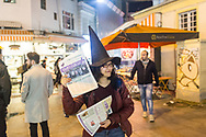 Members of the Kampüs Cadıları (Campus witches) hold a demonstration in the Kadıköy district of Istanbul, Turkey, for the upcoming international women's day on March 8th 2018. They distribute their newspaper and leaflets calling for women to join them in protest on March the 8th.
