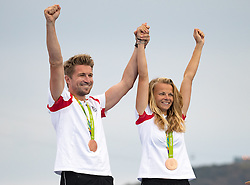 16.08.2016, Marina da Gloria, Rio de Janeiro, BRA, Rio 2016, Olympische Sommerspiele, Segeln, Narca 17 Mixed, Siegerehrung, im Bild Thomas Zajac und Tanja Frank (AUT, Bronzemedaille) // Bronzemedailist Thomas Zajac and Tanja Frank of Austria during the Narca 17 Mixed class Sailing of the the Rio 2016 Olympic Summer Games at the Marina da Gloria in Rio de Janeiro, Brazil on 2016/08/16. EXPA Pictures © 2016, PhotoCredit: EXPA/ Johann Groder