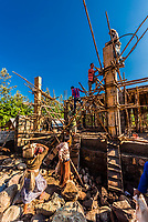 Men and women working on construction site, Lalibela, Ethiopia.