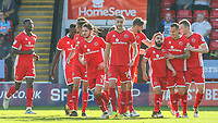 Walsall's Erhun Oztumer (third right) celebrates scoring his side's first goal with teammates<br /> <br /> Photographer Alex Dodd/CameraSport<br /> <br /> The EFL Sky Bet League One - Walsall v Blackpool - Saturday 14th October 2017 - Bescot Stadium - Walsall<br /> <br /> World Copyright © 2017 CameraSport. All rights reserved. 43 Linden Ave. Countesthorpe. Leicester. England. LE8 5PG - Tel: +44 (0) 116 277 4147 - admin@camerasport.com - www.camerasport.com