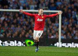 MANCHESTER, ENGLAND - Monday, April 30, 2012: Manchester United's Wayne Rooney appeals during the Premiership match at the City of Manchester Stadium. (Pic by Chris Brunskill/Propaganda)
