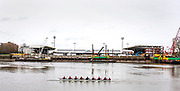 Putney, Greater London. 16th February 2020, Pre Boat Race ARS Nereus Rowing Club, practice paddle, pass Craven Cottage Football Ground,  redevlopment of the Riverside stand, [Eric Millar], Home of Championship side, Fulham FC.  Championship Course, Putney to Mortlake, River Thames, [Mandatory Credit: Peter SPURRIER/Intersport Images], , Background, construction work, on the new spectators stand, at Craven Cottage, home ground of Fulham Football Club,