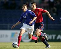 Fotball<br /> EM-sluttspillet for U 17-landslag<br /> Finale<br /> Frankrike v Spania<br /> 15. mai 2004<br /> Foto: Digitalsport<br /> NORWAY ONLY<br /> <br /> HATEM BEN ARFA (FRA) / JOSE PLA MOLLA (SPA)